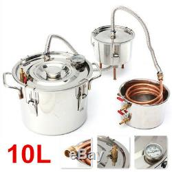 10L Alcohol Moonshine Copper Still Water Distiller Stainless Boiler