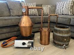 10ltr Copper Moonshine Pot Still with Thumper, Slobber Box Distilling