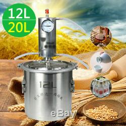 12/20L Alcohol Distiller Stainless Steel Moonshine Copper Still Water Home Brew