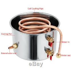 2/3/5/8 GAL Alcohol Distiller Moonshine Copper Wine Maker Still Boiler Brew DIY