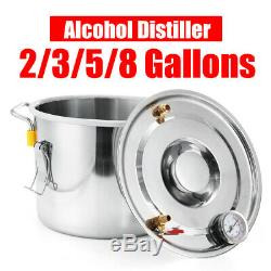 2/3/5/8 GAL Alcohol Distiller Moonshine Copper Wine Maker Still Boiler Brew DIY