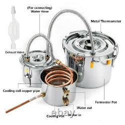 2/3Pots Home Alcohol Distiller Moonshine Still Boiler Stainless Copper 5 Gal 20L