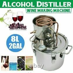 2 Gal 8L Alcohol Distiller Wine Maker Moonshine Ethanol Copper Still DIY Home