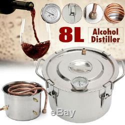 2 Gal 8L Copper Alcohol Moonshine Ethanol Still Spirits Boiler Water Distiller