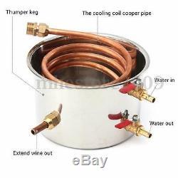 20L 5Gal Copper Still Water Distiller Alcohol Moonshine Stainless Steel Boiler