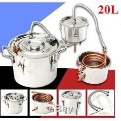 20L Alcohol Moonshine Copper Still Water Distiller Stainless Boiler Thumper