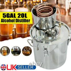 20L Moonshine Spirits Still Alcohol Water Distiller Boiler Stainless Copper Home