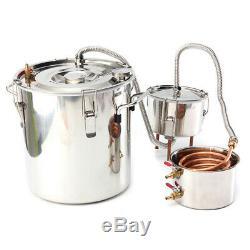 22L Alcohol Moonshine Copper Still Water Distiller Stainless Boiler Thumper Keg