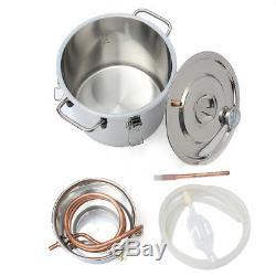 2GAL10L Copper Moonshine Ethanol Alcohol Water Distiller Still Stainless Boiler