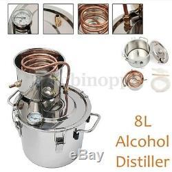 2Gal 8L DIY Home Alcohol Distiller Moonshine Ethanol Copper Still Stainless