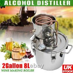 2Gal 8L Water Alcohol Distiller Moonshine Ethanol Copper Still Spirits Boiler UK