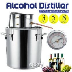 3/5/8 GAL Distiller Alcohol Water Wine Copper Moonshine Stainless Still Boiler