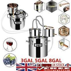 3/5/8 Gal Copper Alcohol Moonshine Ethanol Still Spirits Boiler Water Distiller