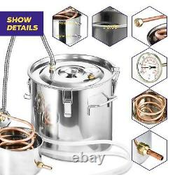 3/5/8 Gal Copper Alcohol Moonshine Ethanol Still Spirits Boiler Water Distiller