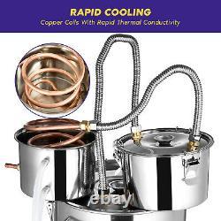 3/5/8 Gal Moonshine Alcohol Distiller Copper Wine Maker Water Still Boiler UK