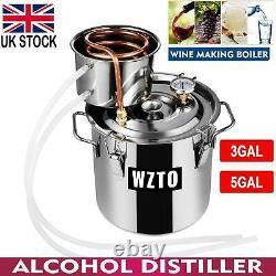 3/5GAL 2POTS Alcoho Distiller Moonshine Copper Wine Maker Water Still Boiler UK