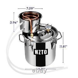 3/5GAL Copper Still Alcohol Distiller Hydrosol Moonshine Wine Maker Water Boiler