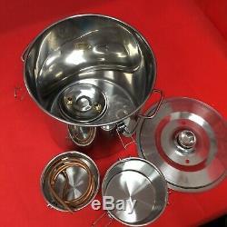 3 Pots 20L Water Alcohol Wine Distiller Moonshine Still Boiler Stainless Copper