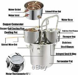 3 Pots 5 Gal Alcohol Distiller Moonshine Still Boiler Stainless Steel Copper UK