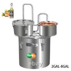 3 Pots DIY 2-8 Gal Alcohol Distiller Moonshine Still Whisky Water Oil Stainless