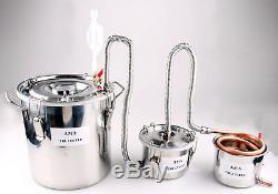 3 Pots Home Distiller Boiler Moonshine Still COPPER Alcohol Oil Brandy Brew Kit