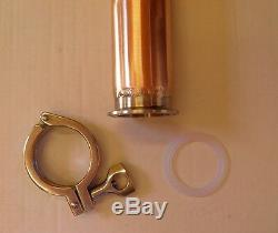 3 X 15 Copper Reflux Column, Moonshine Still Pipe, SS304 Ferrule Tri Clamp