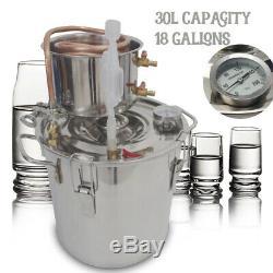 30L 8Gal Alcohol Beer Distiller Moonshine Still Boiler Copper Stainless Wine