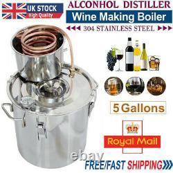 5 Gal 20L Copper Alcohol Distiller Moonshine Ethanol Still Water Spirits Boiler
