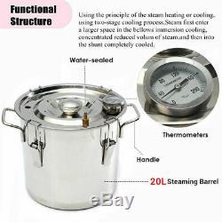 5 Gal 20L Copper Alcohol Moonshine Ethanol Still Spirits Boiler Water Distiller