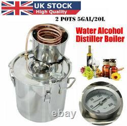 5 Gal 20L Moonshine Still Spirits Water Alcohol Distiller 2 Pots Brew Making Kit
