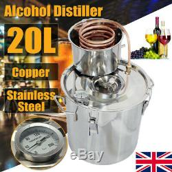 5 Gal Alcohol Distiller Moonshine Still Boiler Stainless Steel Copper Home DIY