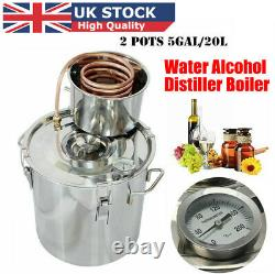 5 Gal Moonshine Alcohol Distiller Copper 20L Wine Maker Water Still Boiler Kit