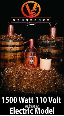 5 Gallon 1500 Watt ELECTRIC Copper Moonshine Still Complete Kit with Worm & Thump