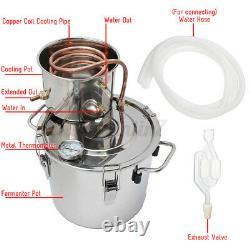 5GAL 12/20L Copper Distiller Moonshine Ethanol Alcohol Water Still Boiler Brewin