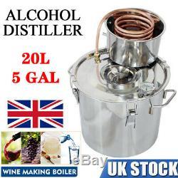 5GAL 20L Copper Alcohol Water Distiller Moonshine Ethanol Still Boiler UK STOCK