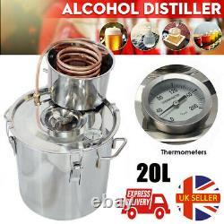 5GAL 20L Copper Distiller Moonshine Wine Ethanol Alcohol Water Still Boiler UK