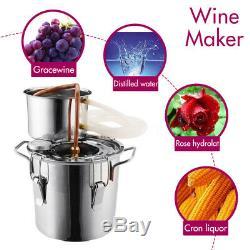 8/10/20/22/35L Alcohol Distiller Copper Moonshine Ethanol Water Still Wine Boile