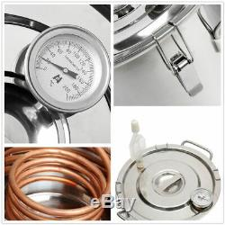 8L Alcohol Distiller Moonshine Copper Wine Maker Water Still Boiler Thermometer