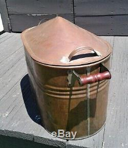 Antique Copper Boiler Moonshine Still with Tapered Dome Top Lid 1900s Era