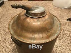 Antique Copper Moonshine Whiskey Still Pot Boiler Tub Primitive