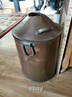 Antique Copper Prohibition Whiskey Moonshine Beer Still Bucket Stock Pot & LID