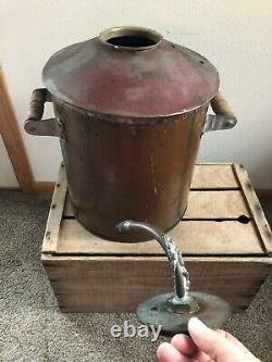 Antique Vintage Copper Moonshine Still Pot Boiler Threaded Top 5 Gallons