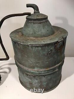 Large Antique Copper Moonshine Still WithCoil & Brass Top 5 Gallon 22 Tall