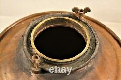 Large Vintage Antique Copper Moonshine Still w. Coil -Handles Brass Top 16 Tall