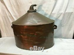 Large Vintage Copper Tub Moon shine Still Corn Mash Boiler Pot 7 gallon