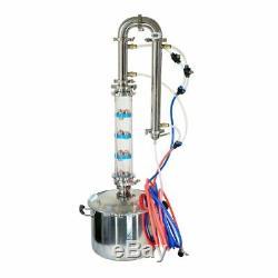 Moonshine Still 25L Tank & Glass Column For Distillation Copper Bubble Plates