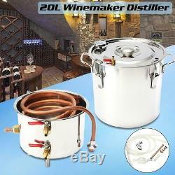 NEW 22L Ethanol Water Copper And Stainless Home Distiller Moonshine Still Boiler