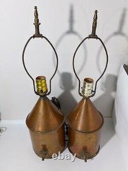 Pair Copper Moonshine Pot Still Electric Table Mancave Bar Lamp Light