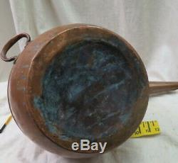 Primitive handmade copper moonshine still boiler brass handles old green patina