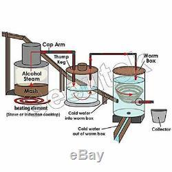 Suteck 3 Gal Moonshine Still Spirits Kit 12L Water Alcohol Distiller Copper Tube